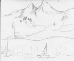 Rough sketch of Wolf's Head Bay by J.J. Brown, Wordslinger