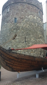 Reginald's Tower and replica viking ship.