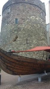 Reginald's Tower and replica viking ship.