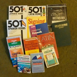 A small portion of my foreign language dictionary collection.