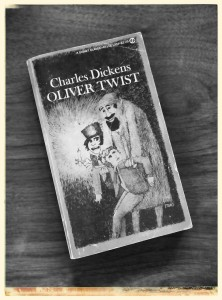 My copy of Oliver Twist. The characters on the cover are the Artful Dodger, Fagin and Oliver.